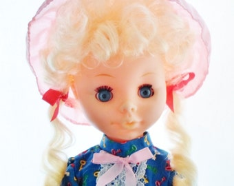 """Vintage Hong Kong 17"""" Plastic Doll, Original Clothes And Shoes, Blonde Hair, Royal Blue Calico Dress With Pink Trim & Lace, Collectible Doll"""