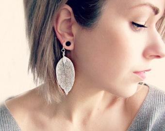 Sterling Silver Leaf Earrings. Delicate Silver Earrings with Shimmering Natural Leaves. Ethereal Wedding Earrings. Long Dangle Earrings