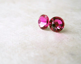Fuschia Pink Studs, Swarovski Post Earrings, Magenta Pink Bridesmaid Jewelry, Summer Weddings, Small Faceted Crystal Stud Earrings