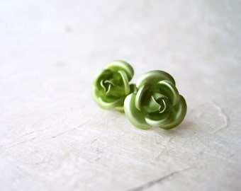 Green Rose Earrings. Lightweight Aluminum Rose Studs. Unique Metallic Light Sage Green Earrings. Holiday Jewelry Gifts for Her.