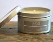 Jasmine Soy Candle Tin 8 oz. - musk candle - jasmine candle - floral candle - spring candle - summer candle - feminine candle