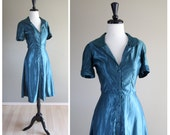 Bright Teal Green Silk Vintage Shirtwaist Day Dress / 1940s 1950s / Pinup VLV Rockabilly / Glam / Home Made