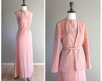 Lovely Peach & Silver Metallic 1960s Vintage Long Sheath Dress w/ Cardigan and Rhinestone Belt / Henry Lee