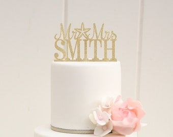 Starfish Beach Glitter Wedding Cake Topper Mr and Mrs Topper Design With YOUR Last Name - 0014