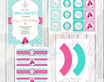 Spa Printable Party Package Personalized For Birthday, Baby Shower or Bridal Shower - Pink and Teal Chevron Print - Spa Theme Party