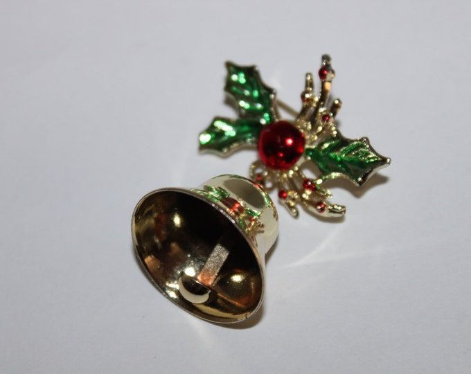 Vintage Gold-Tone Christmas Bell Hanging from Mistletoe, Christmas Brooch