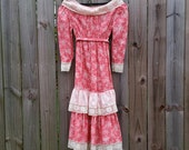 XS S Extra Small Vintage 70s Peaches N' Cream Pink Dusty Rose Ditzy Print Festival Boho Prairie Western Indie Hipster Long Sleeve Dress