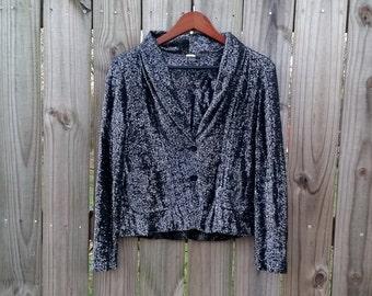 S M Small Medium Vintage 70s Silver Lurex Metallic Funky Sparkly Holiday Groovy Hipster Jacket Blazer