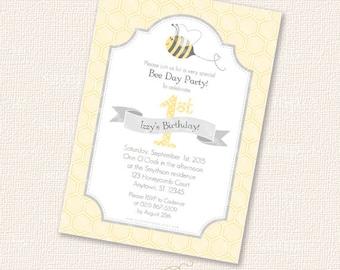 Bee Printable Party Birthday Invitation Card Happy Beeday digital download pdf custom invite bumble honeycomb honey diy