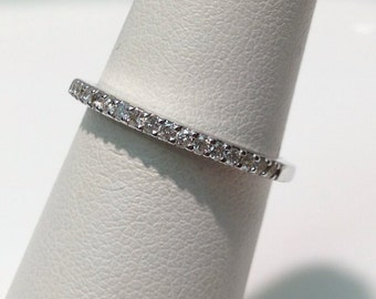 Handmade Diamond Wedding Band in 14K White Gold