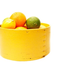 Vintage Yellow Wooden Bowl // Center Piece // Fruit Bowl