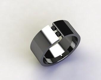 Tension Set Titanium Band with Double Black Diamond Round Cut