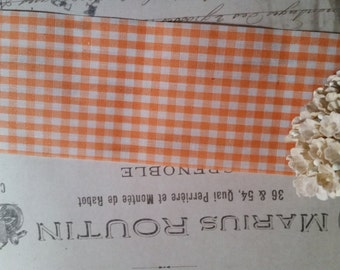 2 Yds Vintage Gingham Orange Trim Ribbon Yardage | NOS | 2 3/8""