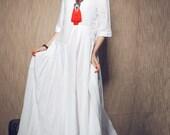 White Dress , Maxi Linen Dress, Wedding Maxi Linen Dress (in Stock) Xxl,xxxl / White Kaftan / Extravagant Long Dress / Party Dress C1003