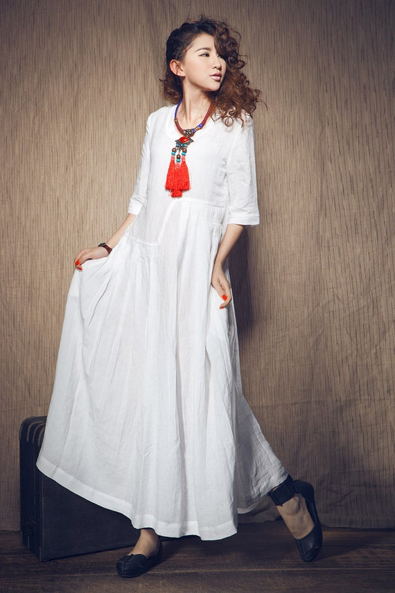 White Dress , maxi linen dress, Wedding maxi linen dress (In Stock) XXL,XXXL  / White Kaftan / Extravagant Long Dress / Party Dress C1003