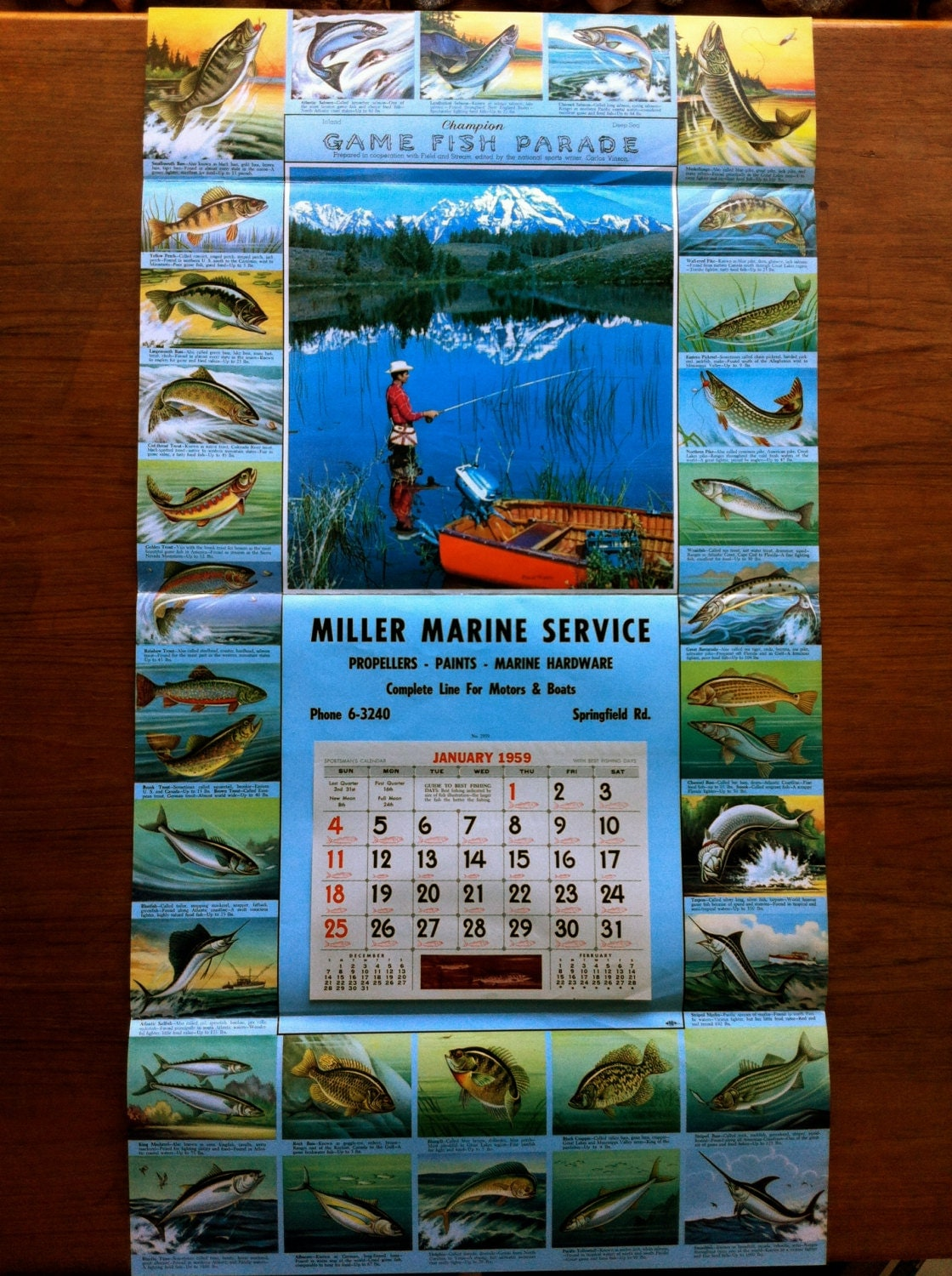 Vintage champion game fish parade sportsman 39 s calendar for Illinois game and fish