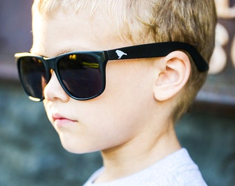 "Kids ""Bird Chaser"" Wayfarer Sunglasses by Hatch For Kids - Children's Risky Business 80's Vintage Retro Shades Glasses Black Frames Lenses"