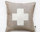 Swiss cross pillow cover - gray linen - decorative covers - throw pillows - shams 14x14/16x16/18x18/20x20   0363