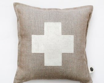 Swiss cross pillow cover - gray linen - decorative covers - throw pillows - shams 14x14/16x16/18x18/20x20   0363