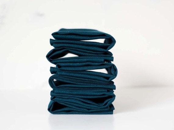 Teal blue linen napkin set of 8  - cloth linen napkins for table - linen napkins   0236