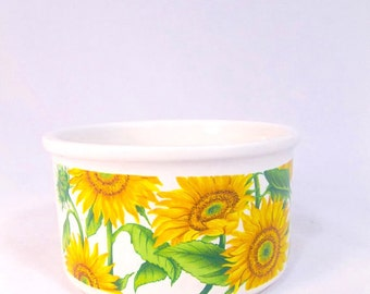 Vintage SUNFLOWER Bowl / 80s White And Yellow Flower Trinket Holder