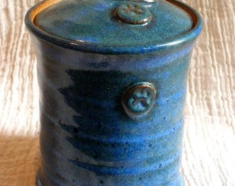 Paw stamp Pet Urn in Floating Blue glaze