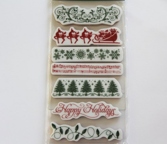 Christmas/Border Cling Rubber Stamp Set