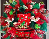 Christmas Top Hat Wreath, deco mesh Christmas wreath, christmas wreath ,wreath