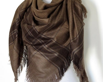 Coyote Brown Blanket Scarf Plaid Scarf Holiday Fashion Valentine's Gift Fashion Accessory Women Accessory - Gift For Her For Him Men Women