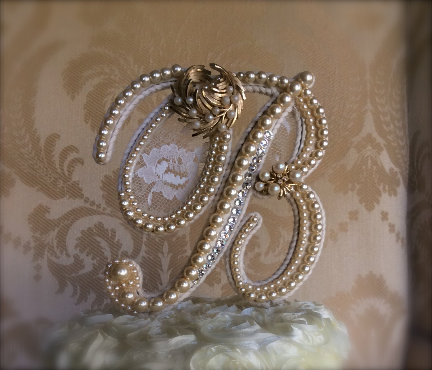 custom monogram wedding cake toppers with lace by