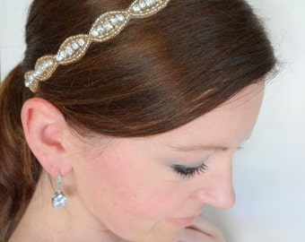JULIE Rose Gold Crystal Bridal Headband