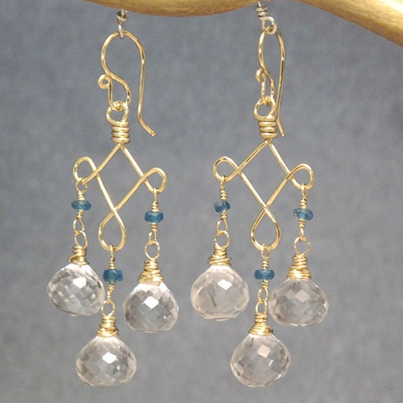 Crystal Quartz earrings with choice of top gemstones Gypsy 70