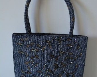 Blue beaded evening handbag,1970s vintage Japanese tote