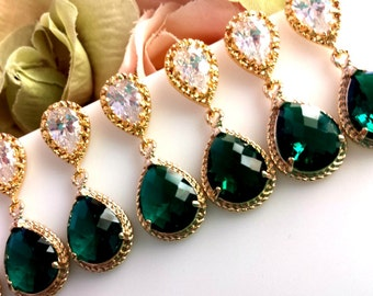 EMERALD Earrings, Emerald Green Gold Wedding Earrings, post earrings, emerald STUD Earrings,Bridesmaid Gift, Wedding Jewelry,Chirstmas GIFT