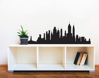New York City Skyline Silhouette  - Wall Decal Custom Vinyl Art Stickers