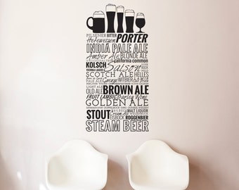 Beer Title List with Beer Glasses Urban Quote Pattern  - Wall Decal Custom Vinyl Art Stickers