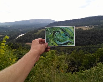 P25 - Green Abstract Expressionism Postcard