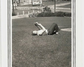 Old Photo Man Reading Newspaper on the Lawn 1930s Photograph vintage