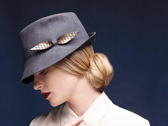 Mens hat / Women hat / gray felt winter autumn fedora hat