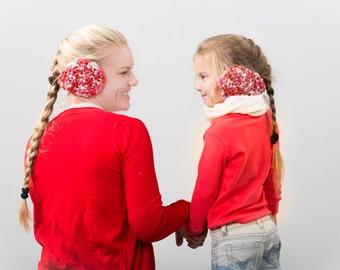 Christmas Gift Earmuffs handmade Mother & Daughter ear muffs ear warmer set winter accessories