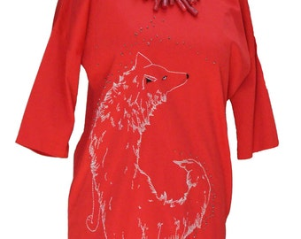 Red dress, hand-embroidered, white wolf, beads