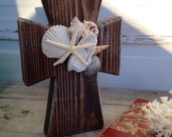 Seashell Cross/Tabletop Wooden Cross/Seashell Home Decor