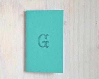 Small Notebook: Monogrammed Notebook, Monogram, G, Blue, Blank Journal, Wedding, Favor, Blank, Monogrammed Journal, Unique, Gift, Notebook