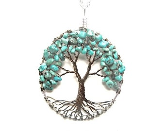 Turquoise Friendship Tree, Wire Tree of Life Necklace, Friendship, Protection, Peace, Gift for friend