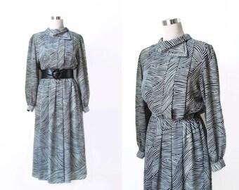 Vintage Dress - Parigi - 70s 1970s - Black And White -  Monochrome - Chiffon - Midi Dress - Secretary Dress