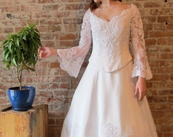 Wedding Dress - Bell Sleeves - Beads - Lace - Petite Size