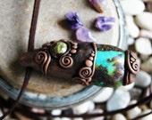 Turquoise and Dragon Stone Gemstone Necklace.