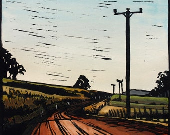"Linocut Print, Handcoloured Landscape, ""Going Home"" Country Road Scene"