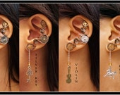 Steampunk Dangly Key Violin Horse ear cuff