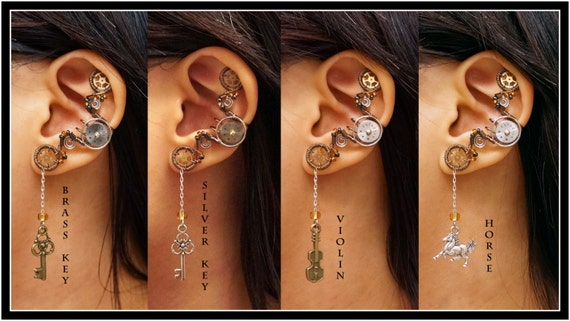 Steampunk Dangly Key Violin Horse ear cuff